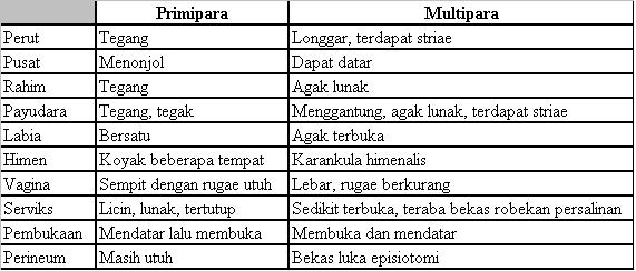 tabel perbandingan primi dan multipara
